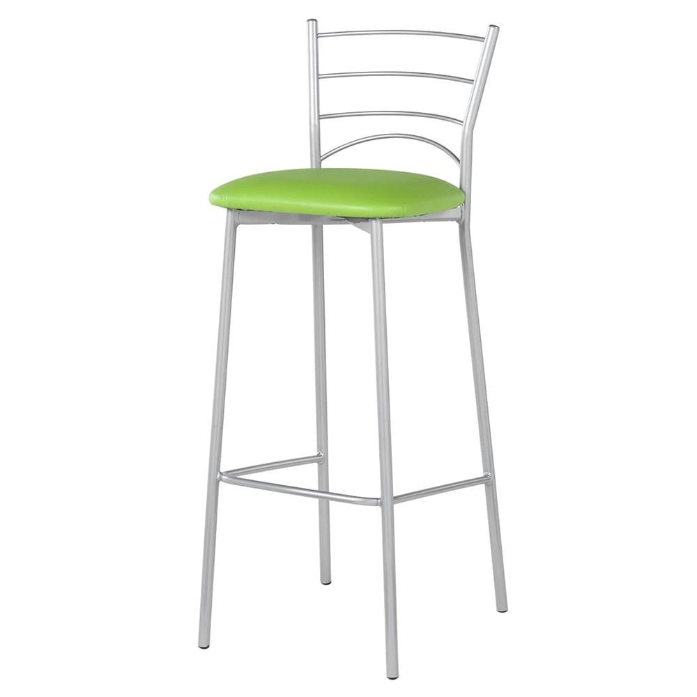 Banqueta Mint Assento Courino Verde Estrutura Cinza 97 cm (ALT) - 55797