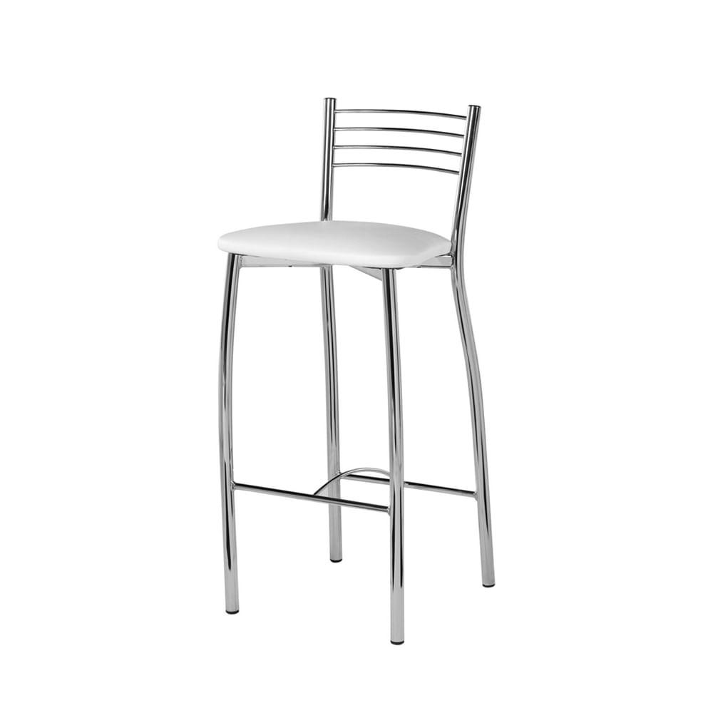 Banqueta Neco Assento Courino Branco Cromada 72 cm (ALT) - 55824
