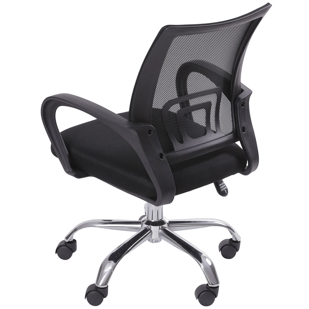 Cadeira Office Osorno Tela Mesh Preta com Base Rodizio Cromada - 49690