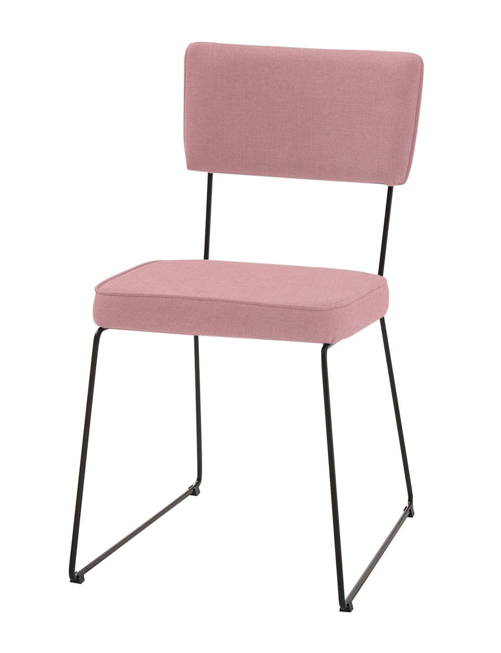 Cadeira Milan Coral Base Preta  - 55891