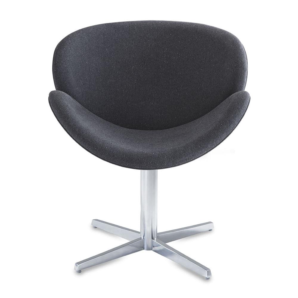 Poltrona Lab Assento Estofado Rustico Preto Base Fixa em Aluminio - 55850