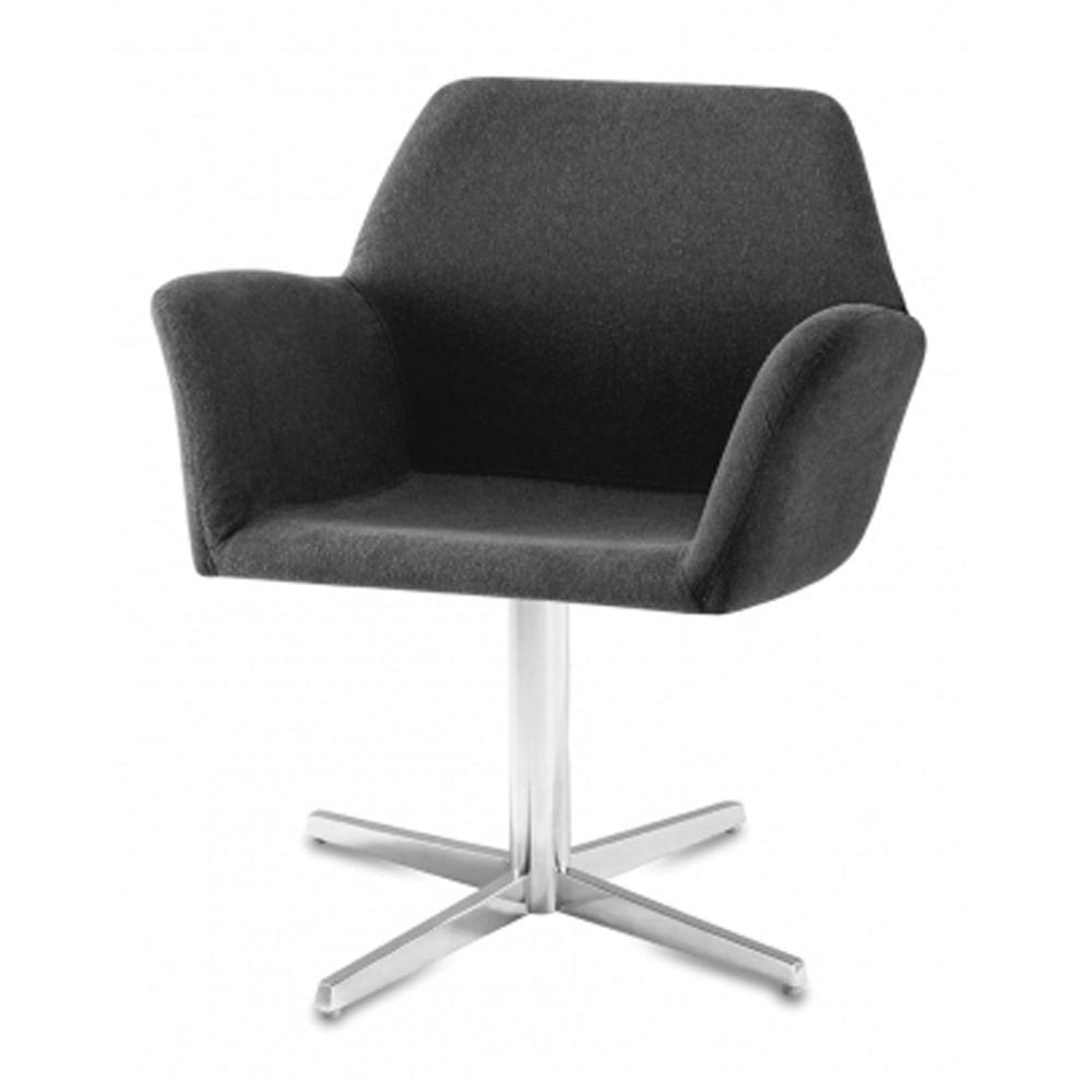 Poltrona Miro Assento Estofado Rustico Preto Base Fixa em Aluminio - 55870