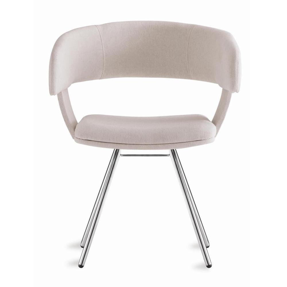 Cadeira Inhotim Assento Estofado Rustico Cru Base Cromada - 55876
