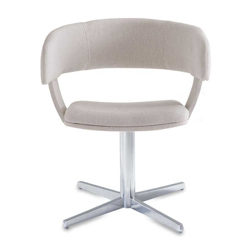 Cadeira Inhotim Assento Estofado Rustico Cru Base Fixa em Aluminio - 55877
