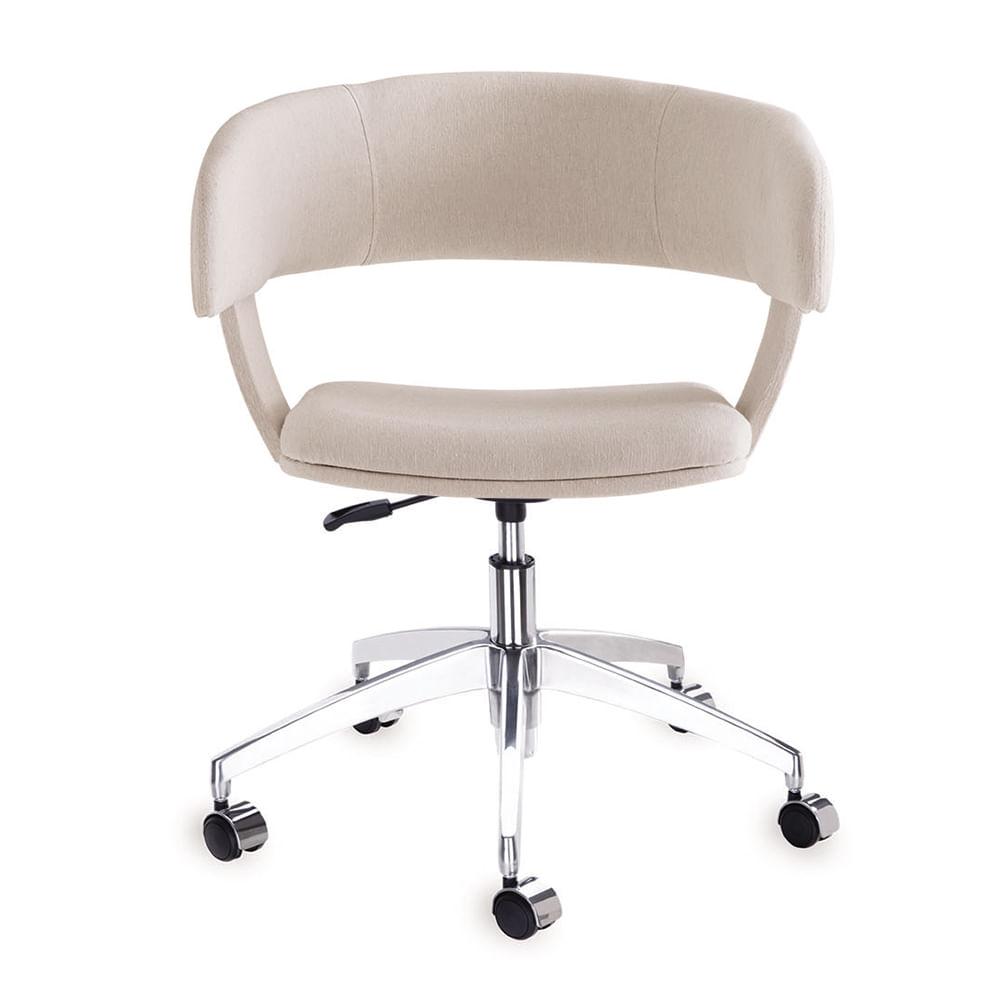 Cadeira Inhotim Assento Estofado Rustico Cru Base Rodizio em Aluminio - 55878