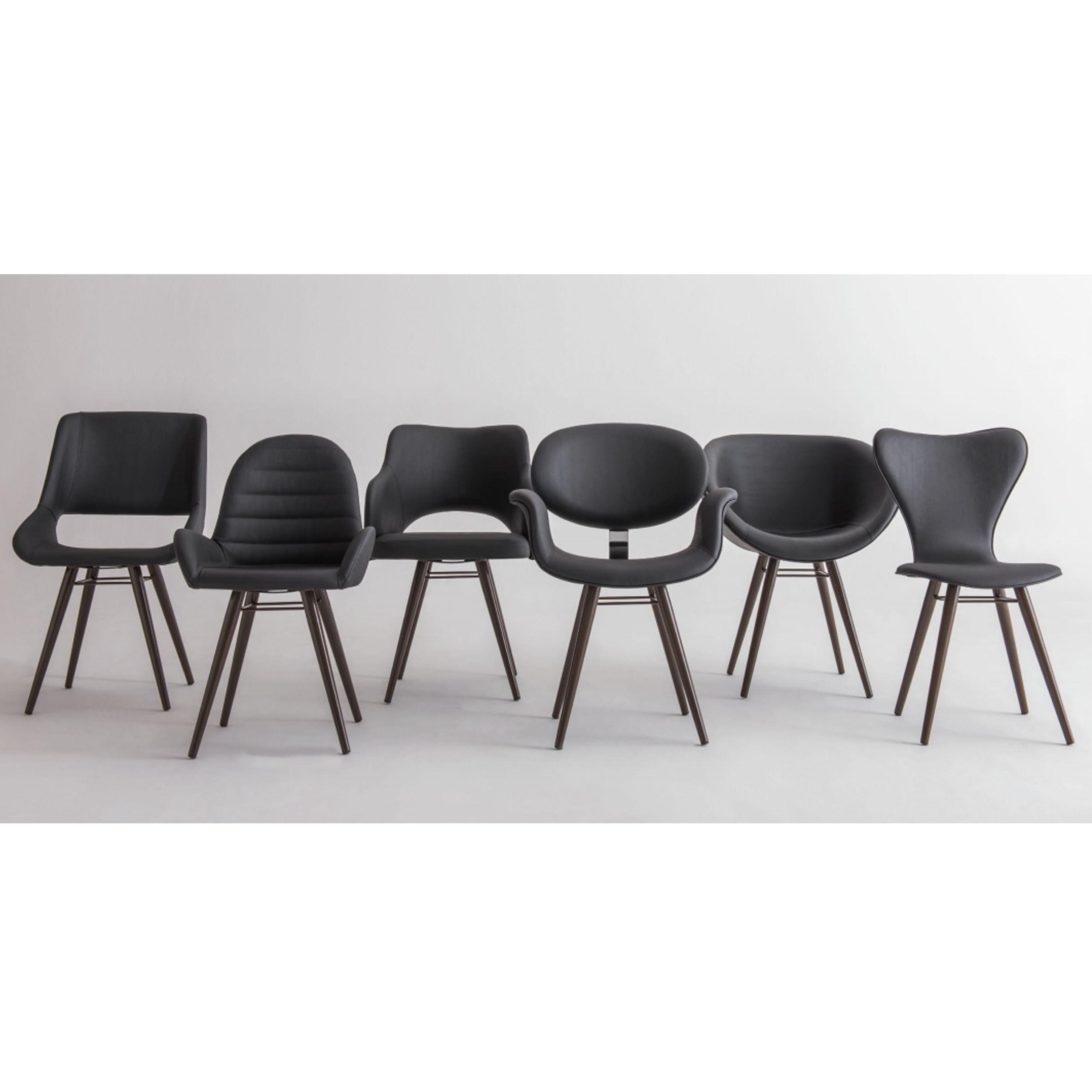 Cadeira Dife Assento Estofado Rustico Cru Base Tabaco - 55879