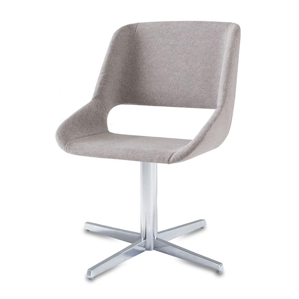 Cadeira Dife Assento Estofado Rustico Cru Base Fixa em Aluminio - 55881