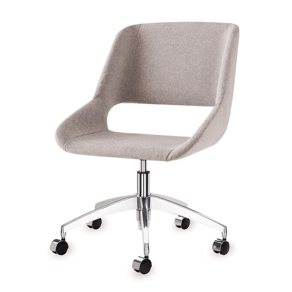 Cadeira Dife Assento Estofado Rustico Cru Base Rodizio em Aluminio - 55882