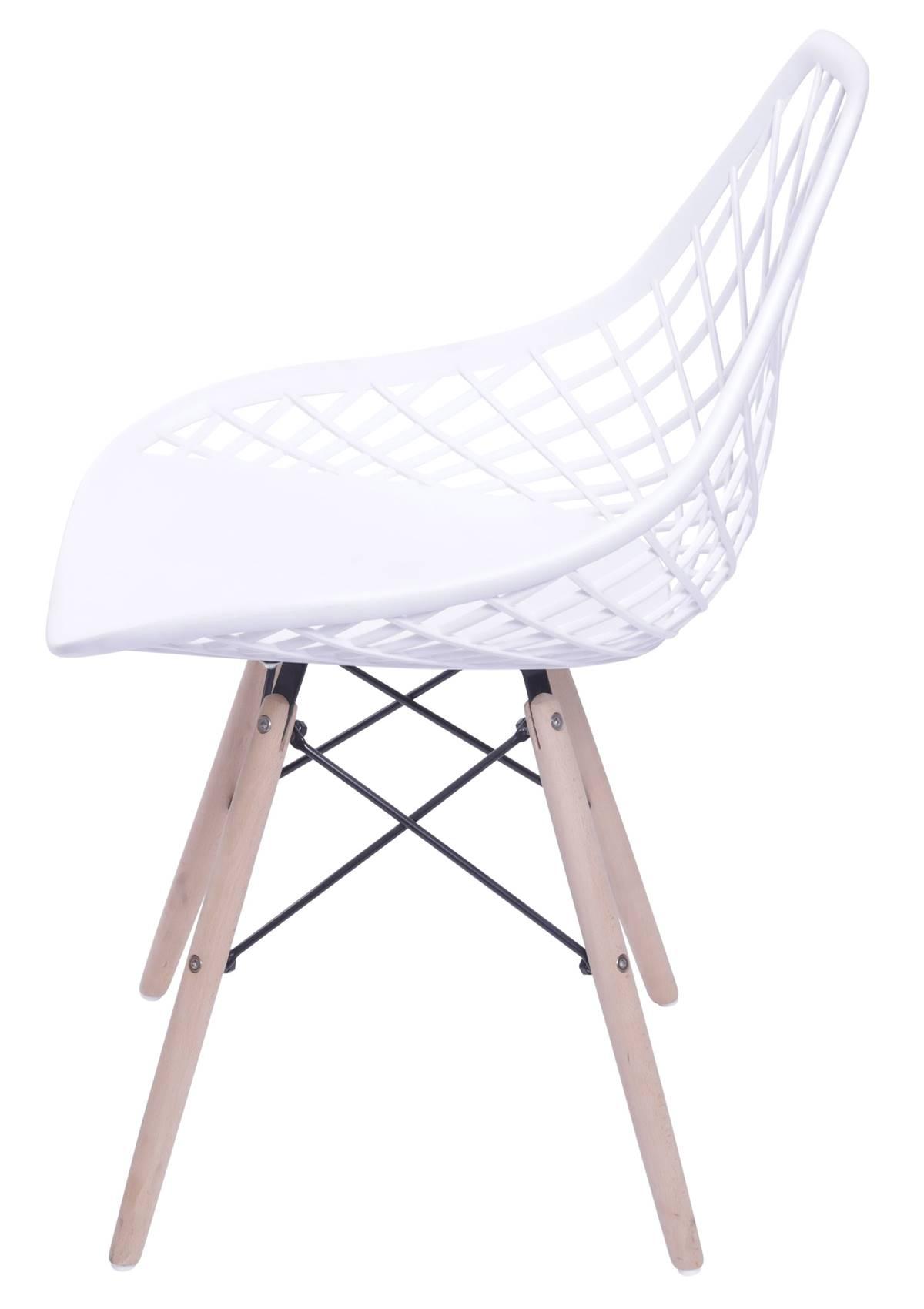 Cadeira Boom Polipropileno Branco com Base Madeira - 55929
