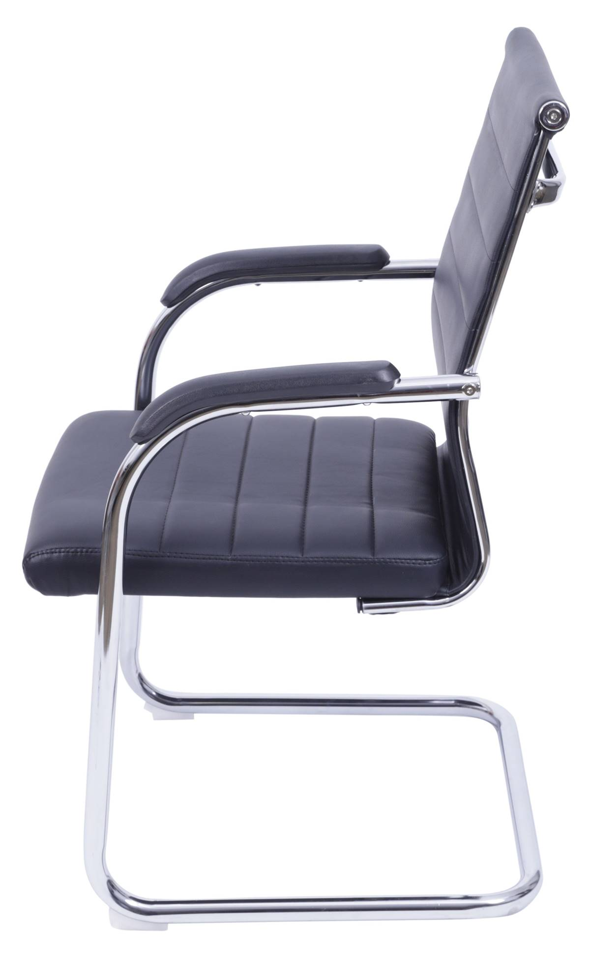 Cadeira Office Light Fixa Courino Preto com Base Cromada - 55949