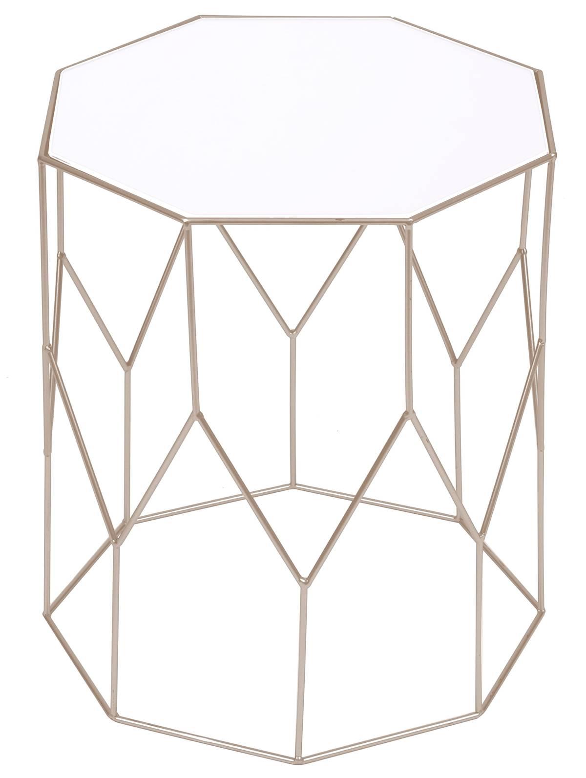 Mesa Apoio Triade Tampo Espelhado Base Dourada 37 cm (LARG) - 55956