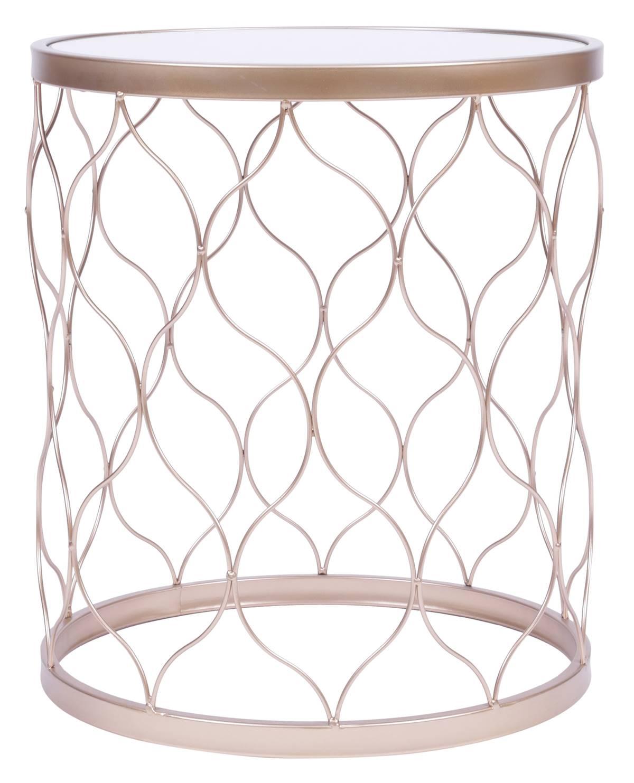 Mesa Apoio Forms Tampo Espelhado Base Dourada 35 cm (LARG) - 55957