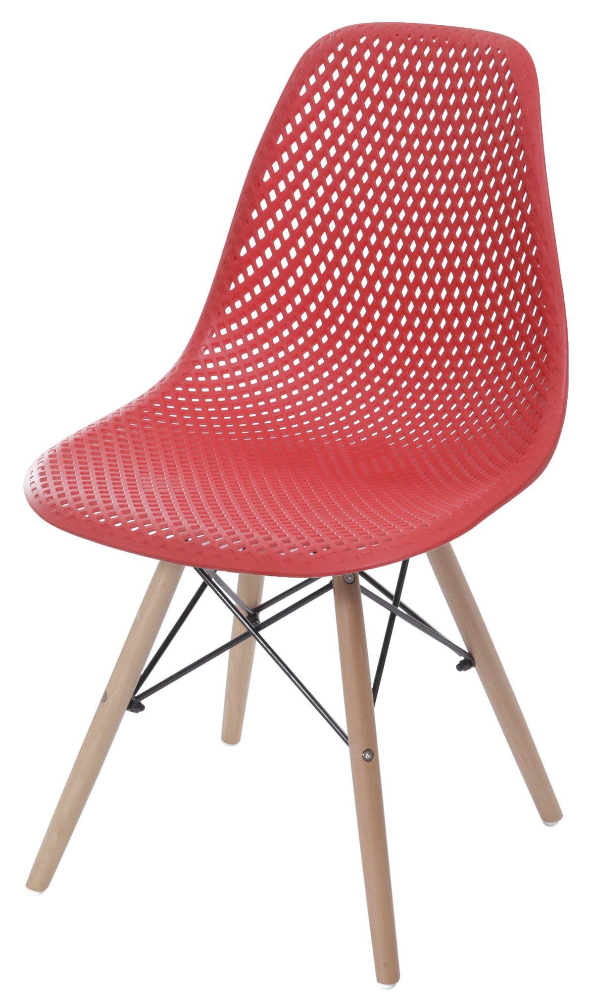 Cadeira Eames Furadinha cor Vermelho com Base Madeira - 55983