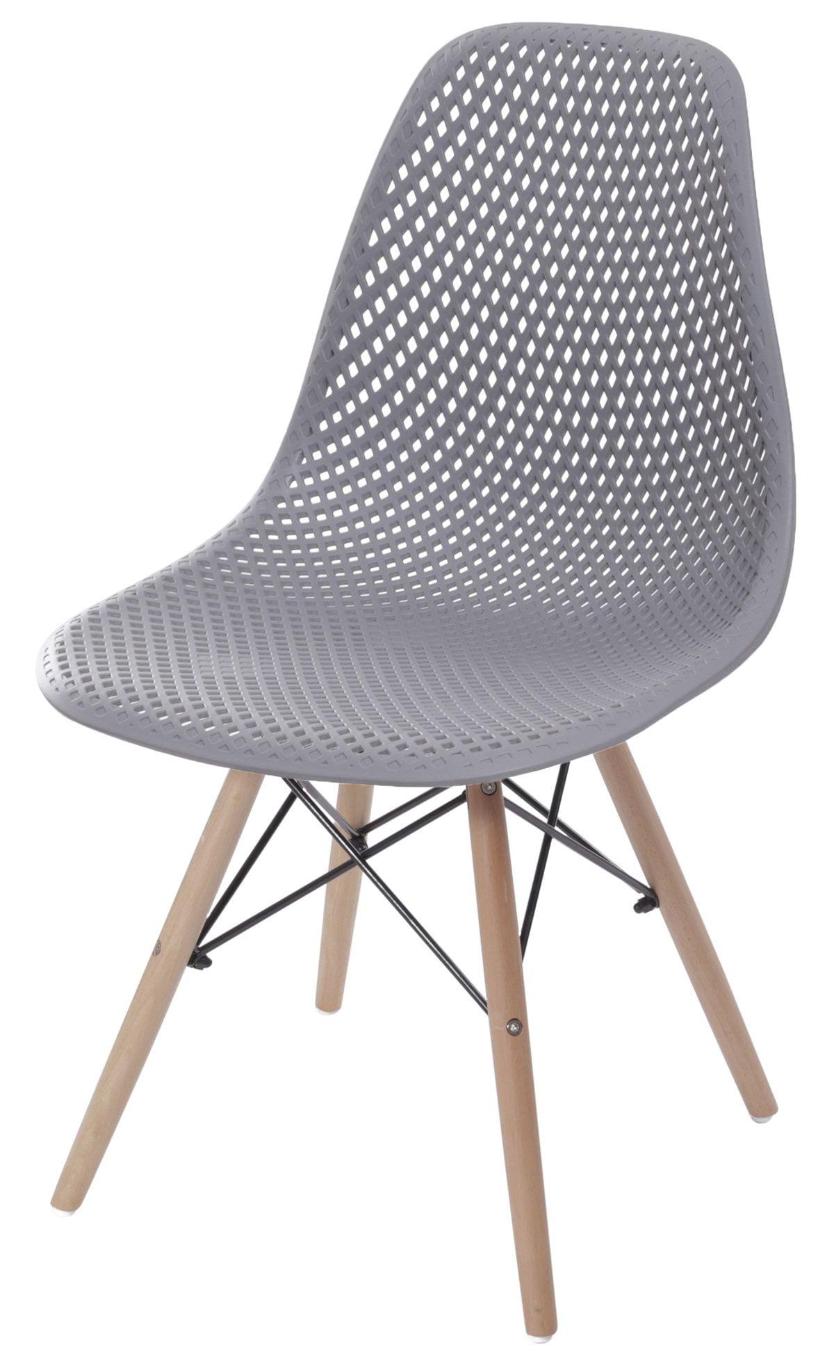 Cadeira Eames Furadinha cor Cinza com Base Madeira - 55984