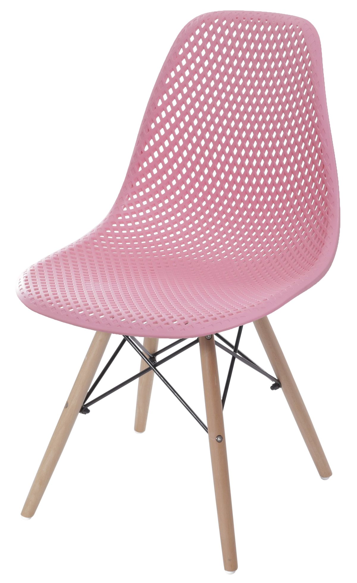 Cadeira Eames Furadinha cor Rosa com Base Madeira - 55985
