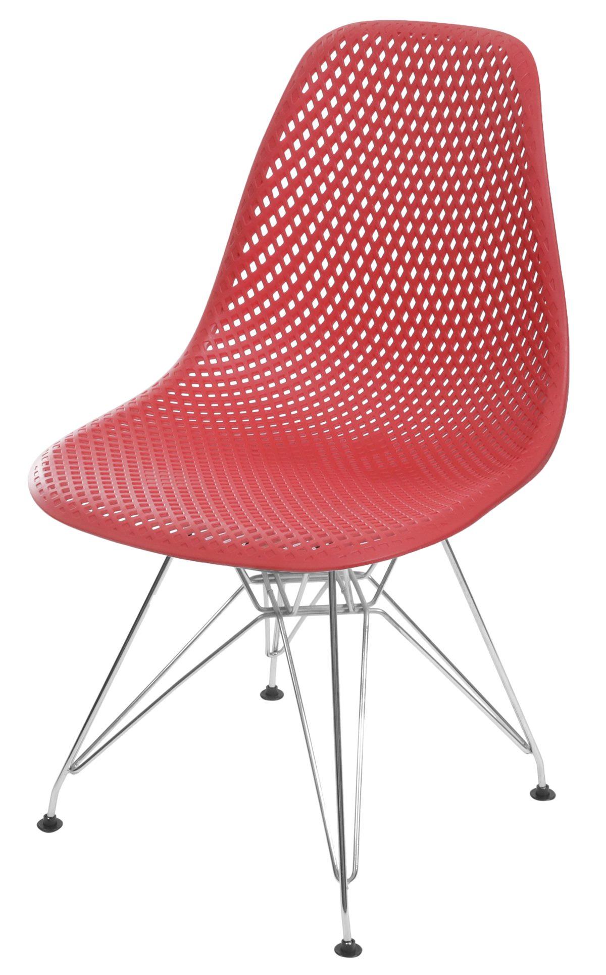 Cadeira Eames Furadinha cor Vermelho com Base Cromada - 55988