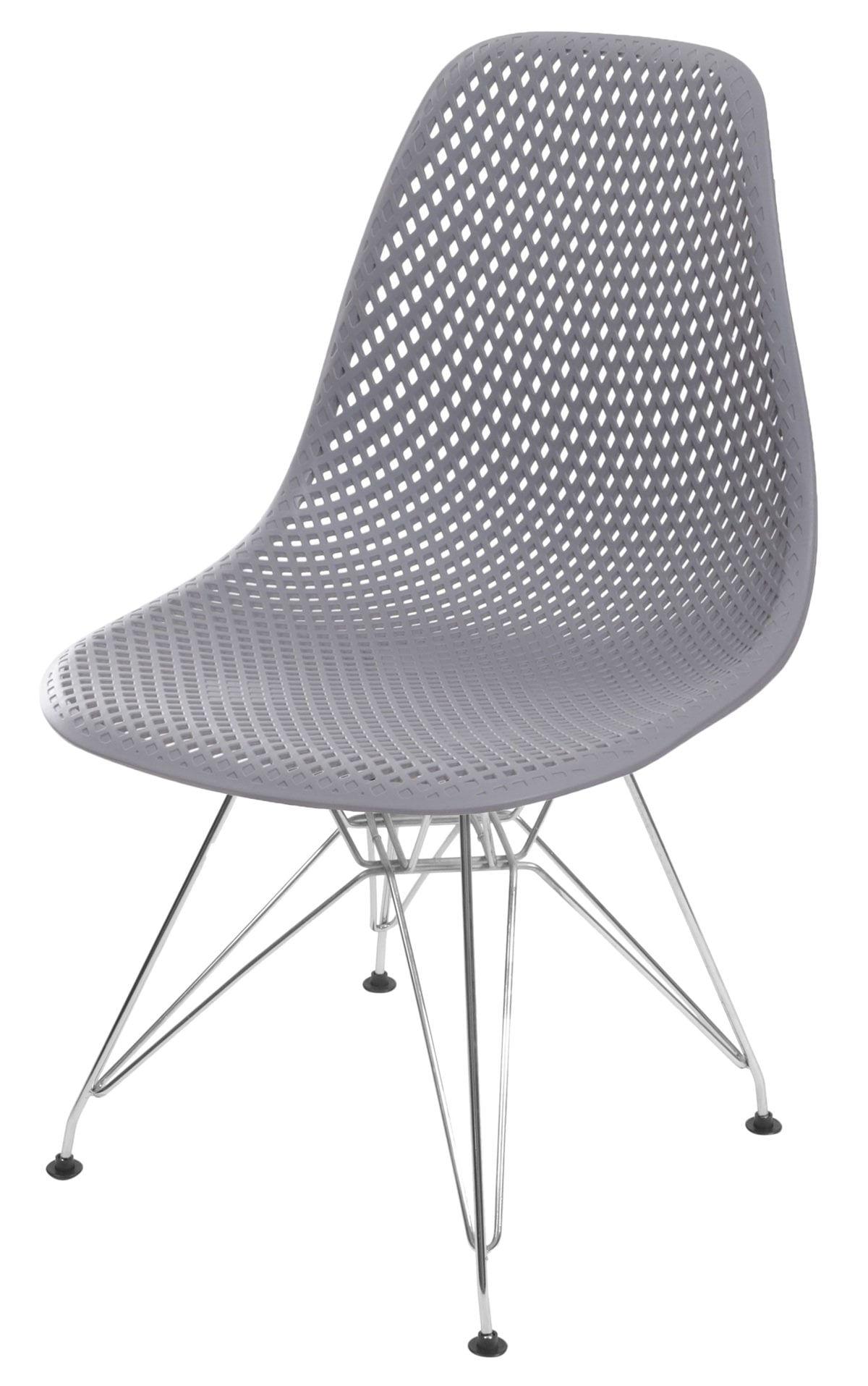 Cadeira Eames Furadinha cor Cinza com Base Cromada - 55989