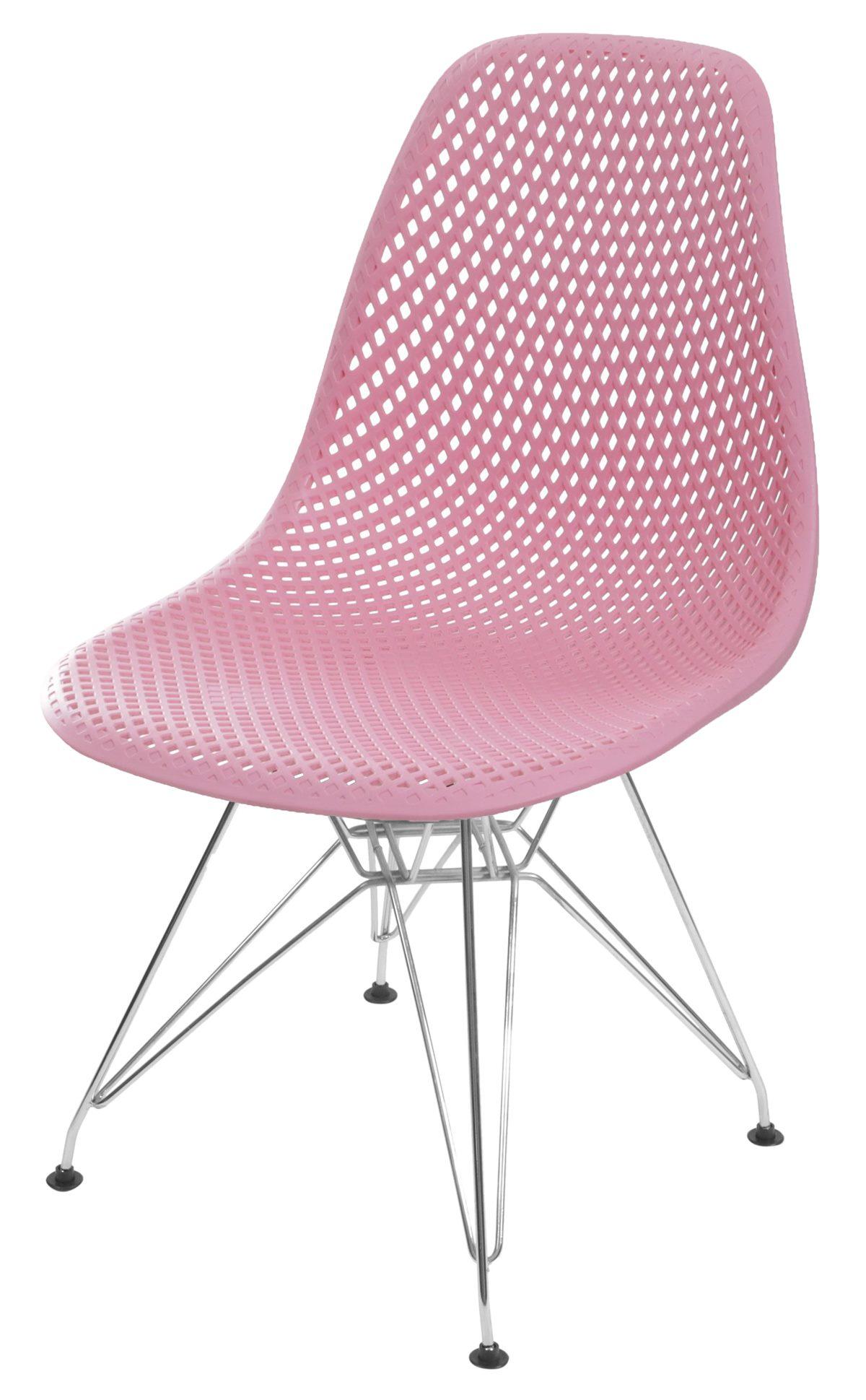 Cadeira Eames Furadinha cor Rosa com Base Cromada - 55990