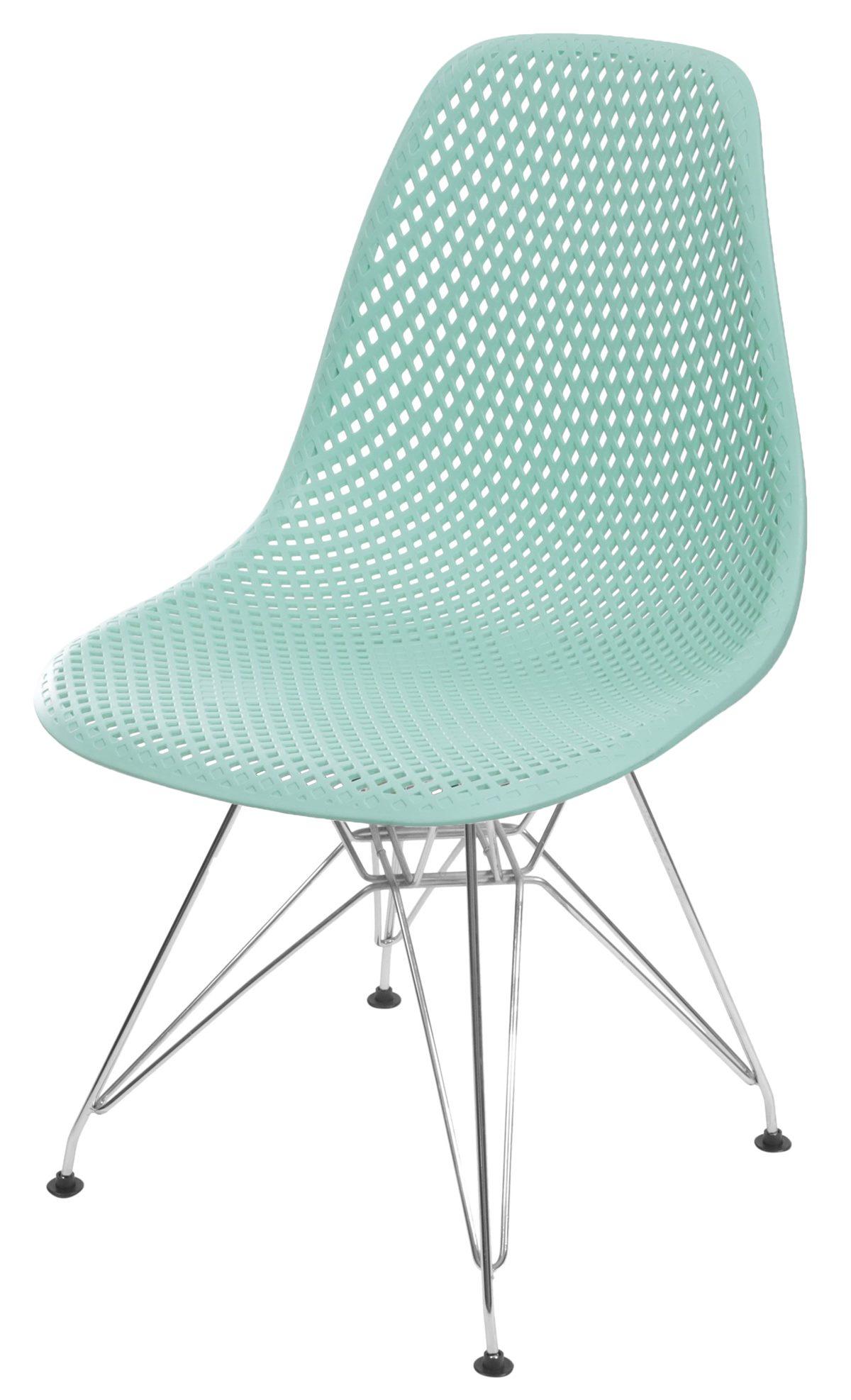 Cadeira Eames Furadinha cor Tiffany com Base Cromada - 55991