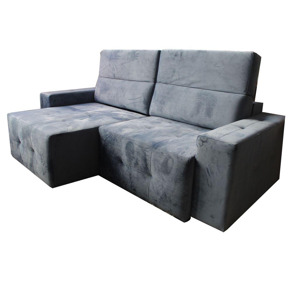 Sofa Retratil Luxor com 3 Lugares Assento Veludo Azul Base ...