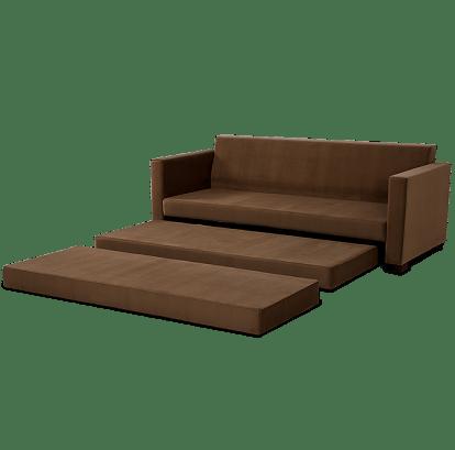 Sofa Cama Fox com 3 Lugares Assento Veludo Marrom Base Madeira Cor Castanho - 56005