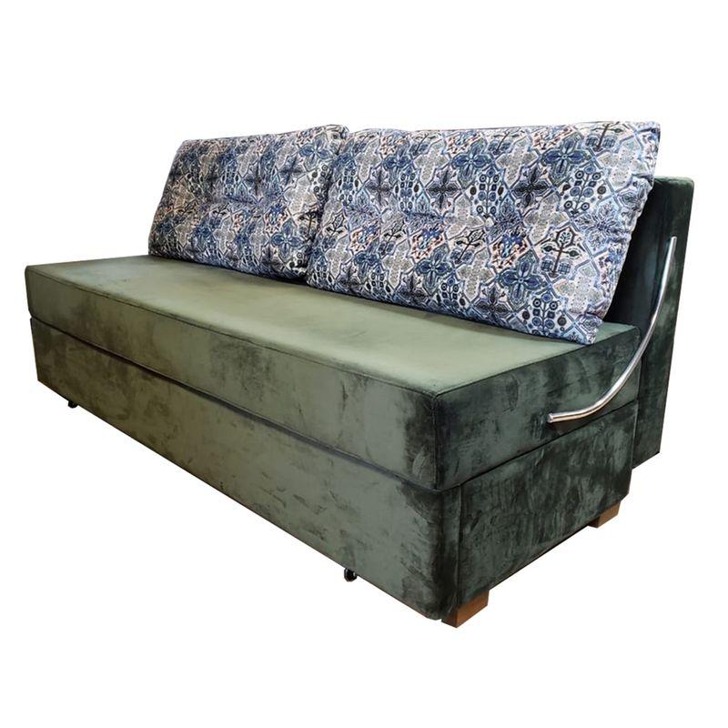Sofa-Cama-Omega-com-2-Lugares-Assento-Veludo-Verde-Musgo-Base-Madeira---46468