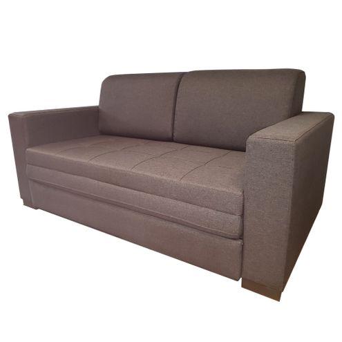 Sofa-Cama-March-com-2-Lugares-Assento-Linho-Cinza-Escuro-Base-Madeira-Cor-Castanho---51776