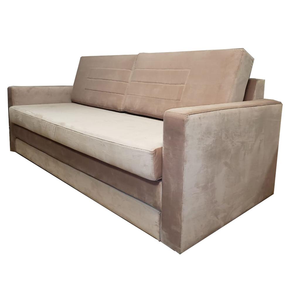 Sofa Cama Fox com 3 Lugares Assento Veludo Rosa Base Madeira Cor Castanho - 50384