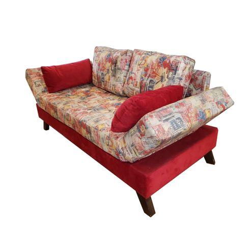 Sofa-Cama-Brand-com-2-Lugares-Assento-Estampado-Base-Madeira-Cor-Castanho---30812