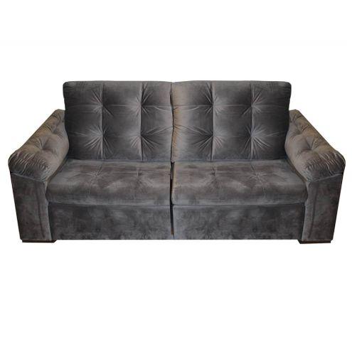 Sofa-Vip-com-2-Lugares-Assento-Veludo-Cinza-Escuro-Base-Madeira---55289