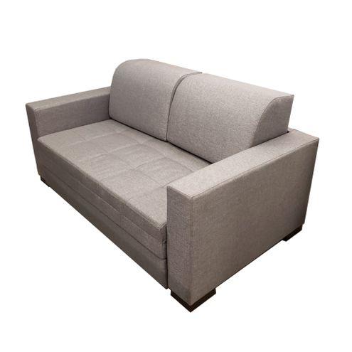 Sofa-Cama-March-com-2-Lugares-Assento-Linho-Cinza-Claro-Base-Madeira-Cor-Castanho---50544