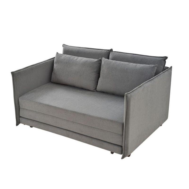 Sofa-Cama-Bed-com-2-Lugares-Assento-Linho-Cinza-Base-Madeira---55413-