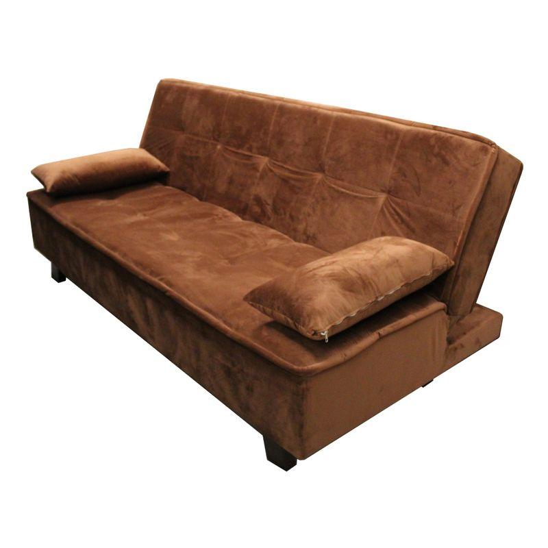 Sofa-Cama-Mage-com-2-Lugares-Assento-Veludo-Marrom-Claro-Base-Madeira-Cor-Tabaco---52136
