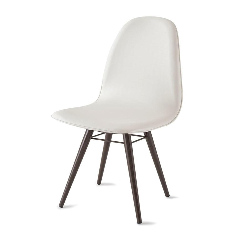 Cadeira Boom Assento Estofado Courissimo Branco Base Tabaco - 39915