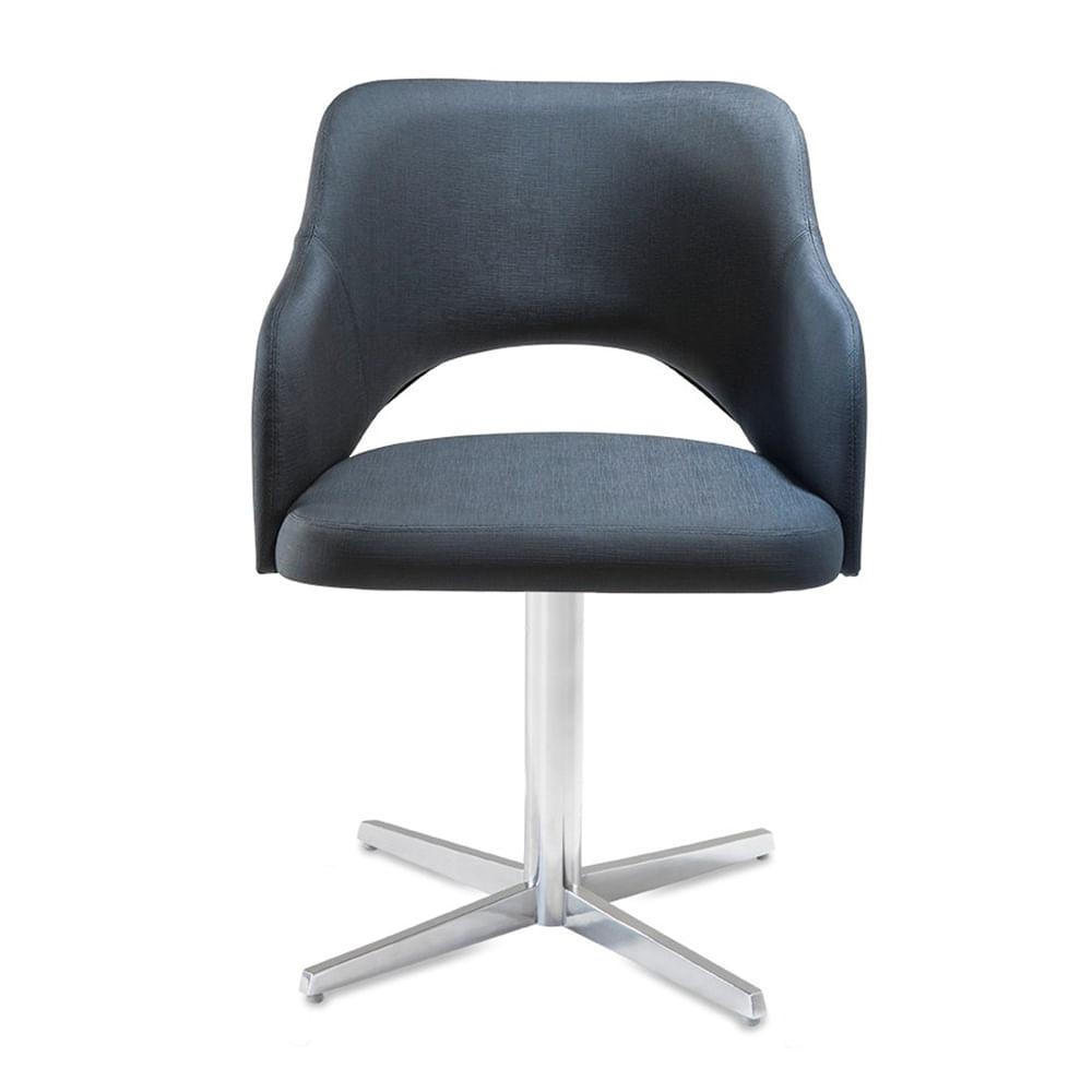 Poltrona Arty Assento Estofado Dunas Preto Base Fixa em Aluminio - 55900