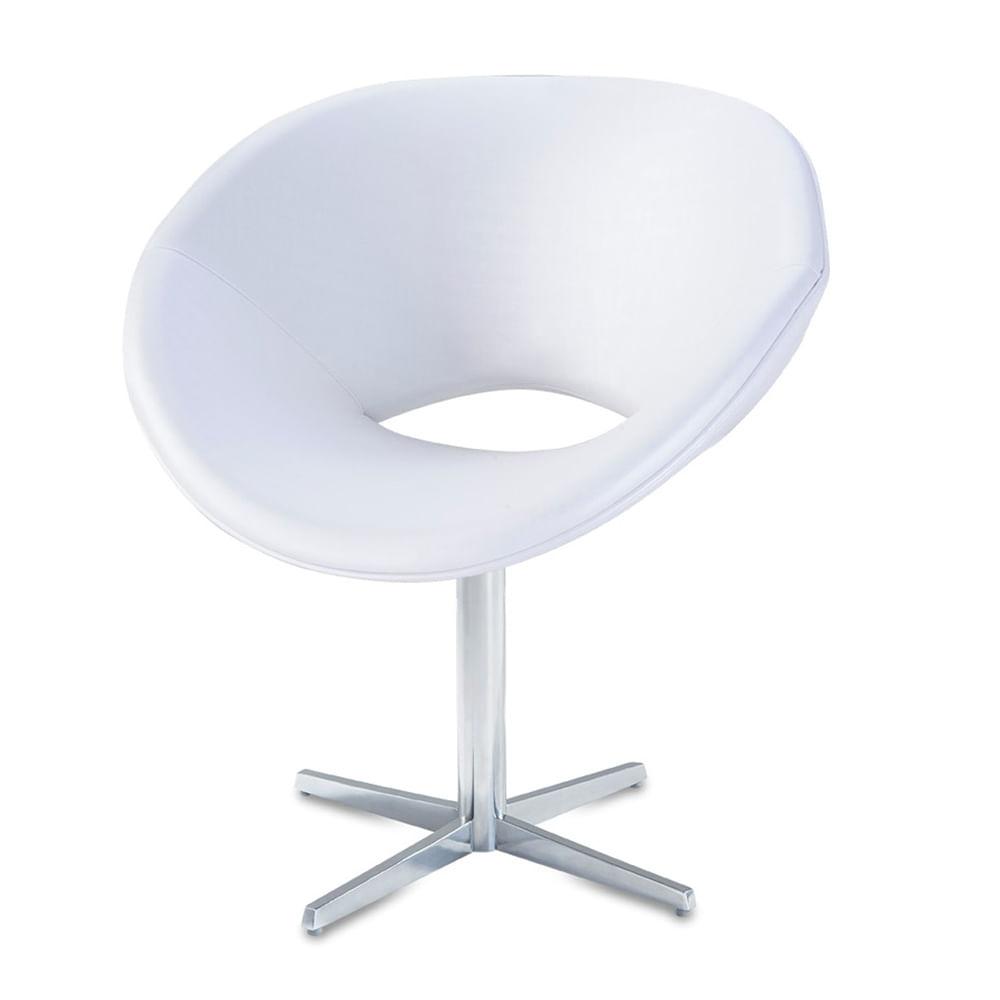 Poltrona Tok Assento Courino Branco Base Fixa em Aluminio - 56021