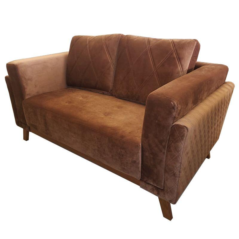 Sofa-Angra-com-2-Lugares-Assento-Veludo-Marrom-Base-Madeira-157-MT--LARG----53625