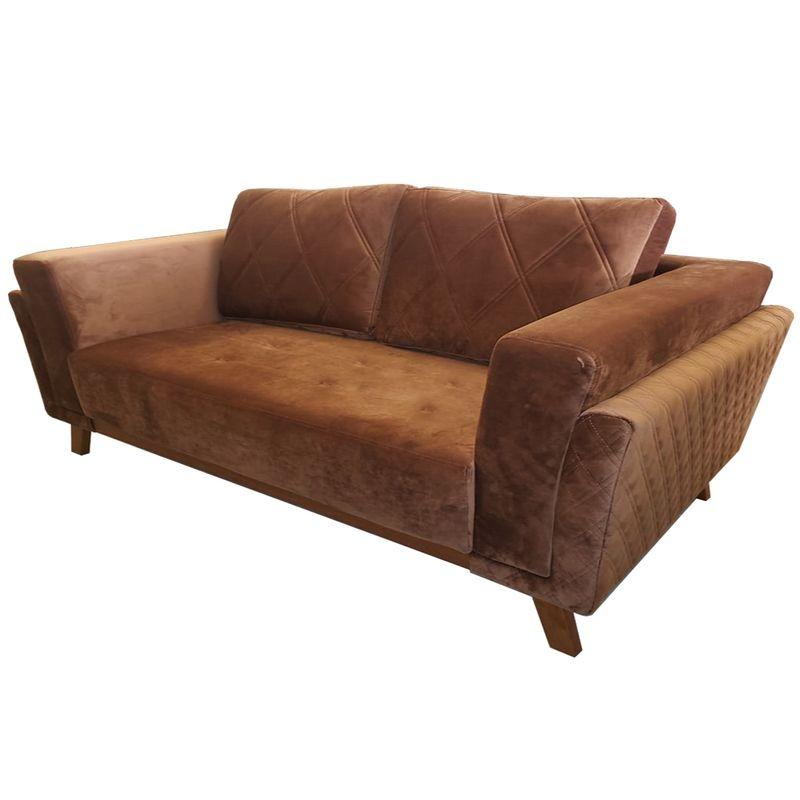 Sofa-Angra-com-3-Lugares-Assento-Veludo-Marrom-Base-Madeira-207-MT--LARG----53626