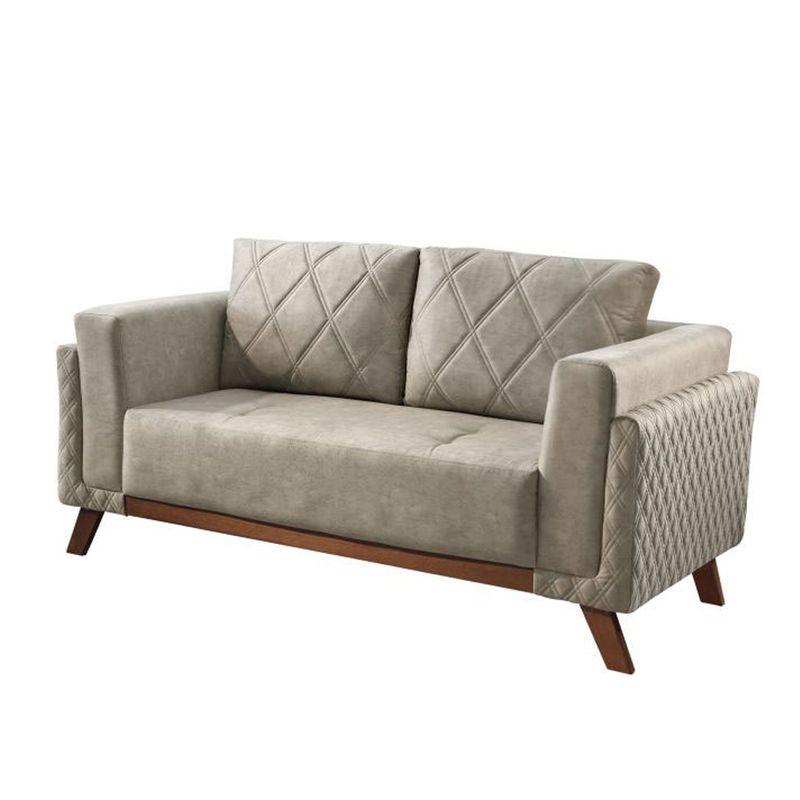 Sofa-Angra-com-2-Lugares-Assento-Veludo-Cinza-Base-Madeira-157-MT--LARG----56029