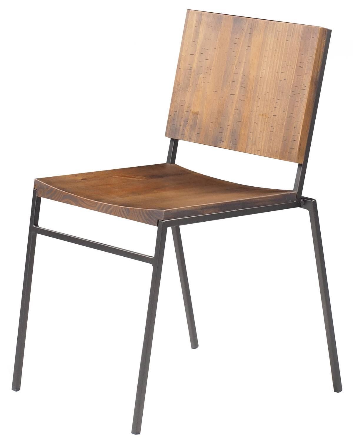 Cadeira Dix com Assento em Madeira Rustic Brown Base em Aco Grafite - 56050