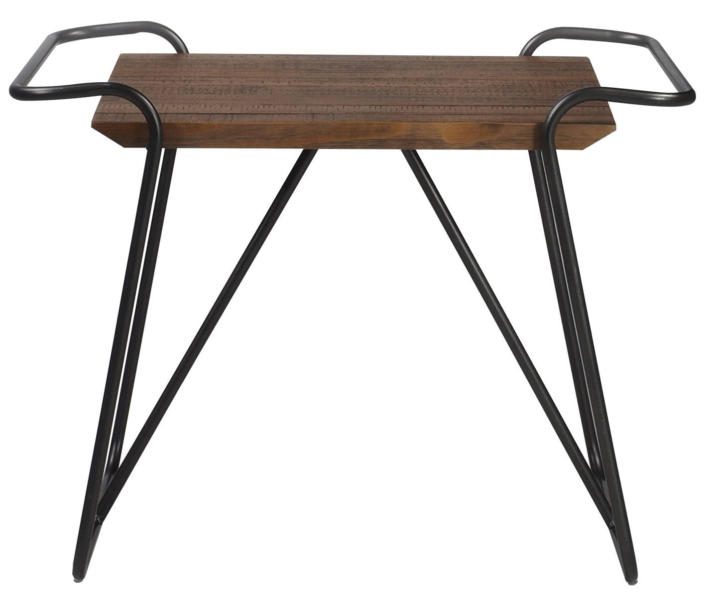 Banqueta Hicks cor Rustic Brown com Base Aco Grafite 56 cm (ALT) - 55664