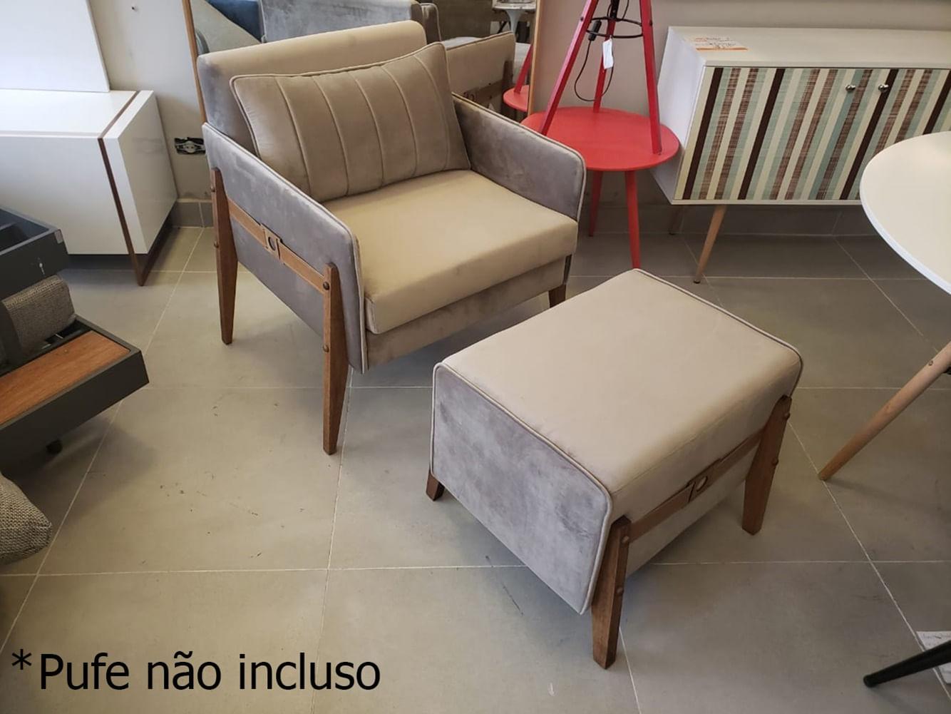 Poltrona Cica Assento Veludo Cinza Base Madeira Pinhao - 55149