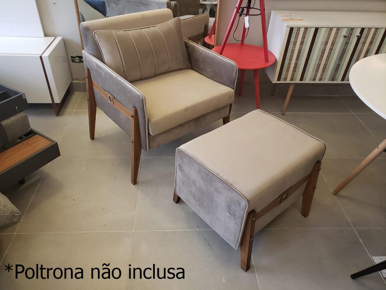 Pufe Cica em Veludo Cinza Base Madeira Pinhao - 55151