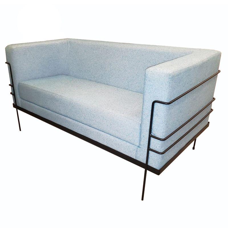 Sofa-Le-Corbusier-com-2-Lugares-Assento-Verde-Agua-Base-Aco-Preto---56186