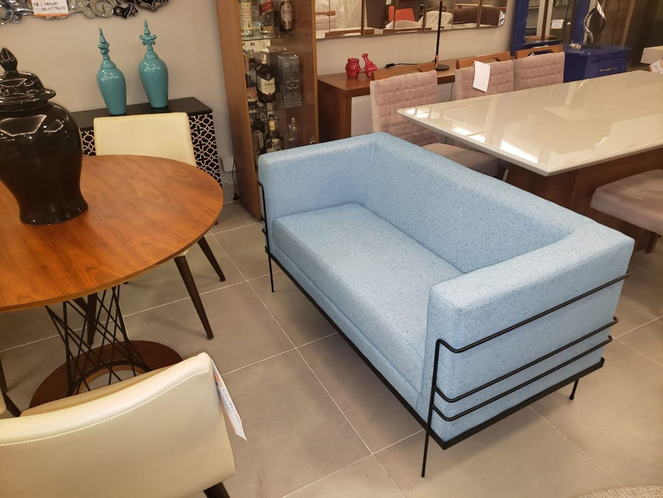Sofa Le Corbusier com 2 Lugares Assento Verde Agua Base Aco Preto - 56186