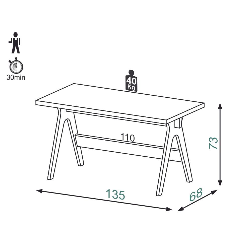 Mesa de Escritorio Pratik com Tampo de Vidro cor Carvalho com Grafite - 56299