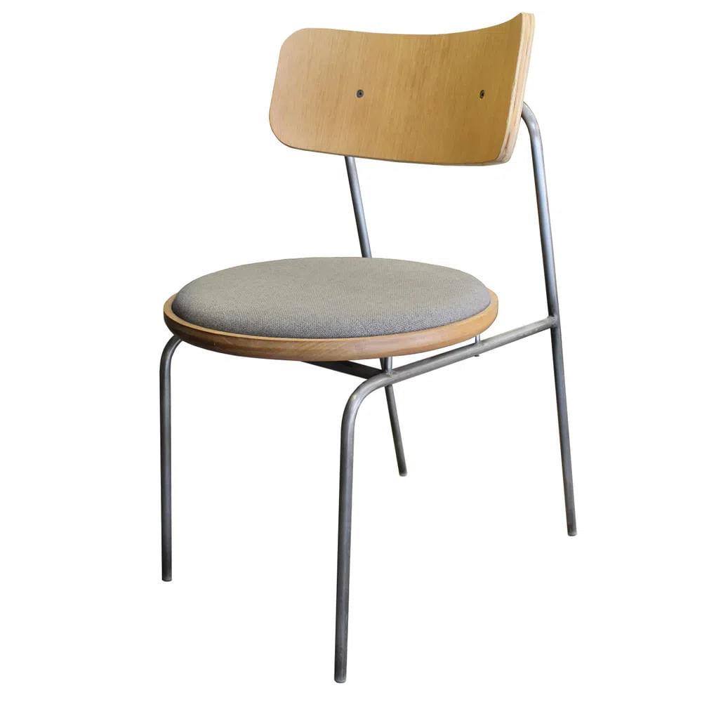 Cadeira Lux em Madeira Natural Assento Linho Cinza Base Metalica Cor Grafite - 50719
