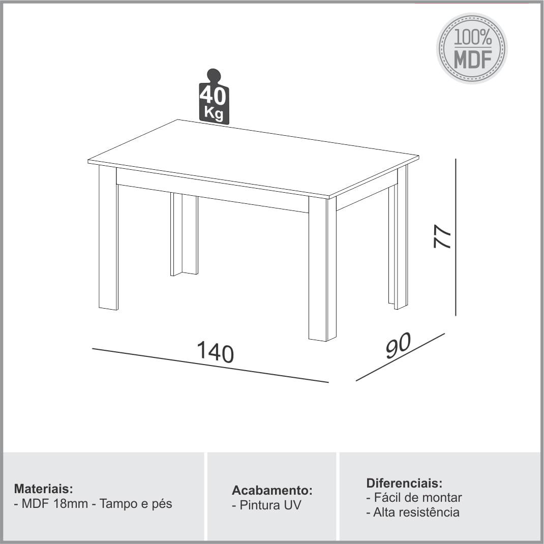 Mesa de Jantar Perdizes cor Grafite com Carvalho 1,40 MT (LARG) - 56348