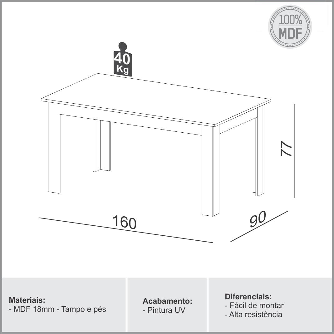 Mesa de Jantar Perdizes cor Grafite com Carvalho 1,60 MT (LARG) - 56349