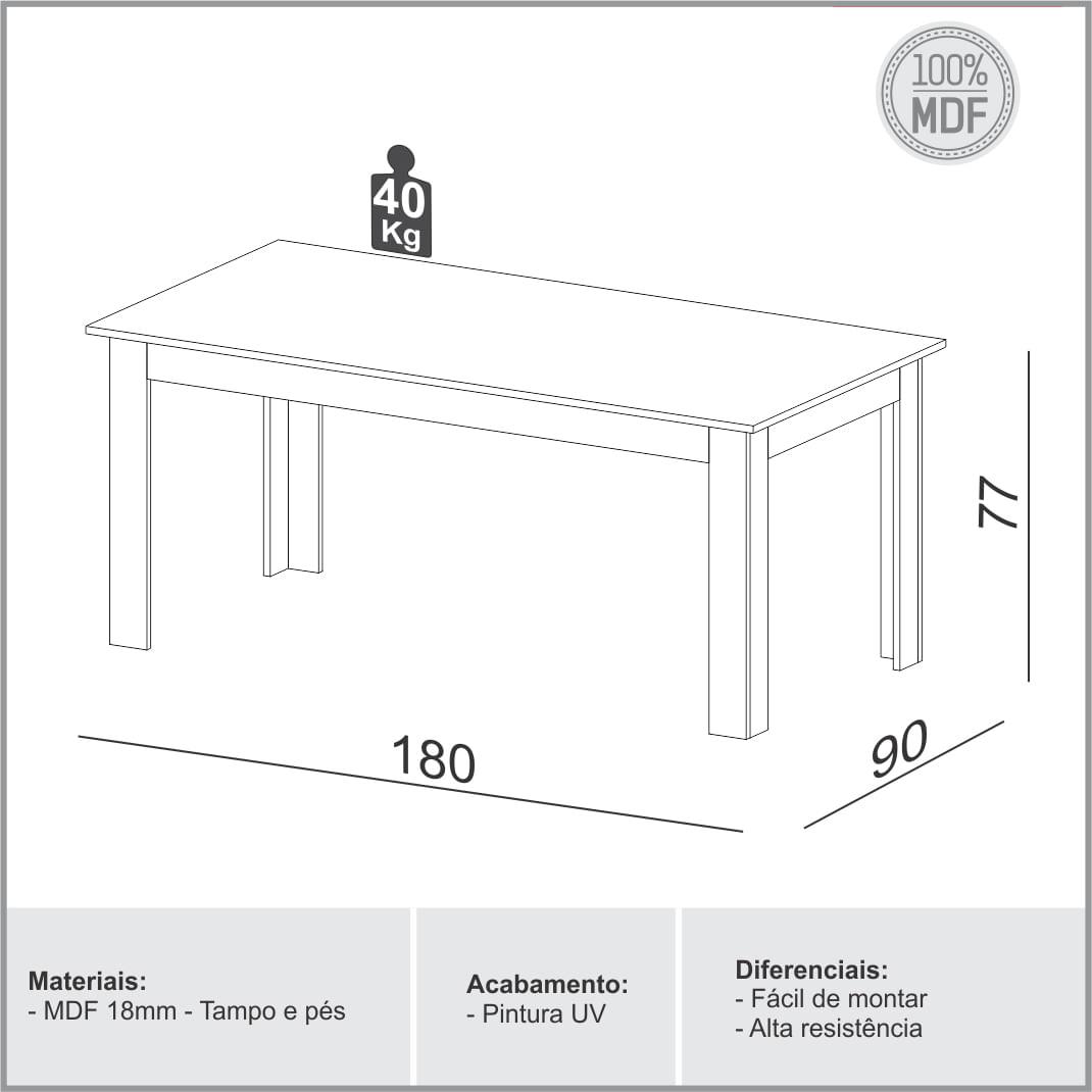 Mesa de Jantar Perdizes cor Grafite com Carvalho 1,80 MT (LARG) - 56350